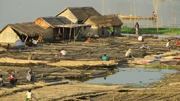 A closer look at a bamboo Island on a river,Mandalay,Burma Footage