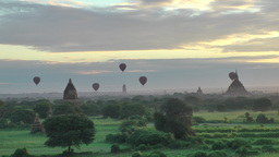 Balloons floating over Temples,Bagan,Burma Footage