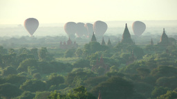 Balloons landing at Temples,Bagan,Burma Footage