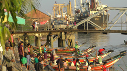 Small passenger boats at the jetty,Yangon,Burma Footage
