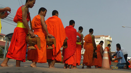 Monks collecting alms,Savannakhet ,Laos Footage
