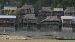 Wooden houses on the shore of the Irrawaddy,Irrawaddy,Burma Footage