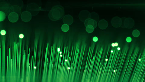 Technology Background with Optical Fibers. Flashing Light Signals Green Color. 3 Animation