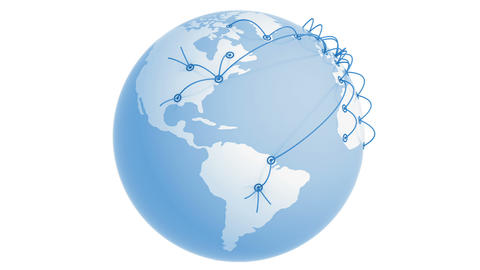Global Network Growing on the Earth. Business concept 3d animation. White backgr Animation