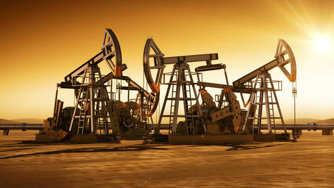 Sunset in the Desert with the Oil Pumps Working. Time-lapse loop 3d animation. H Animation