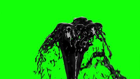 Black Oil Fountain Isolated on Green Screen Background. Technology Concept 3d an Animation