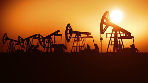 Oil Pumps in a Row at Sunset. Looped 3d animation.... Stock Video Footage