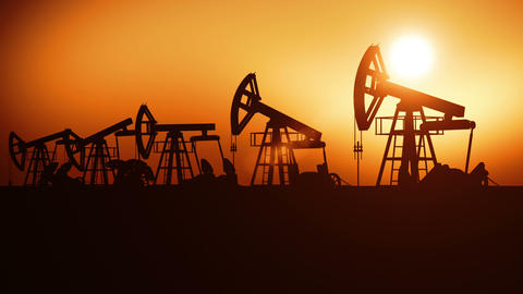 Oil Pumps in a Row at Sunset. Looped 3d animation. Technology and Industrial Con Animation