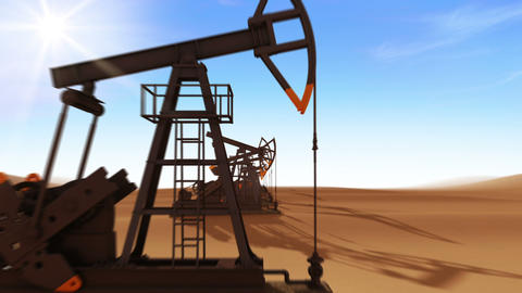 Flight Through the working Oil Pump Jacks in the desert. Looped 3d animation. Su Animation