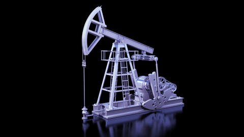 Oil Pump Working Isolated on Black Background. Business Concept 3d animation. Lo Animation