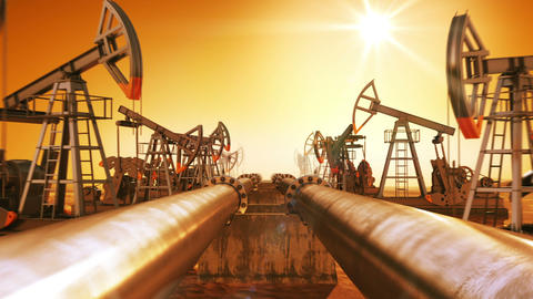 Moving at the Endless Pipeline and rows of Oil Pumps. Orange Sunset and Sun Shin Animation