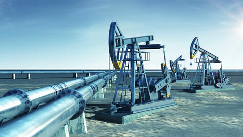 Oil Pump Jacks and Oil-Pipeline. Sun Shining in the blue Sky. Looped 3d animatio Animation
