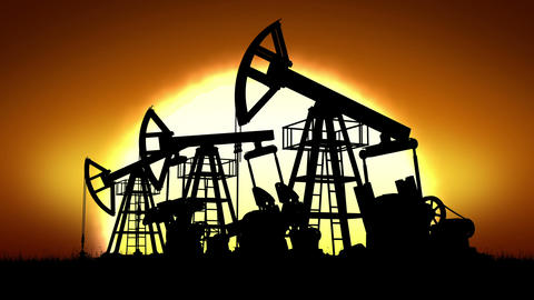 Oil Pumps and Big Sun Rising. Looped 3d animation. HD 1080 Animation