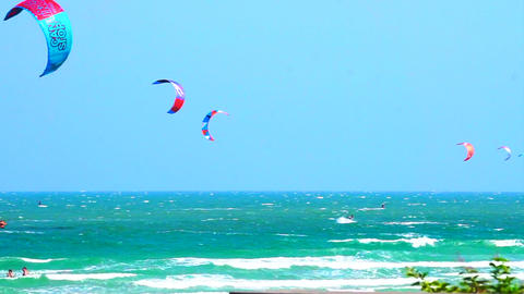 Many glide surf, kite board sport playing in the ocean Footage