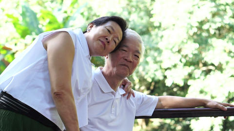 Asian senior couple stay together after retirement. hug and cuddle with love Footage