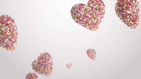 Falling hearts of flowers Animation