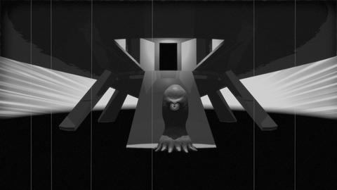 Vintage Alien Invasion: Alien Cyclops Creature leaves... Stock Video Footage