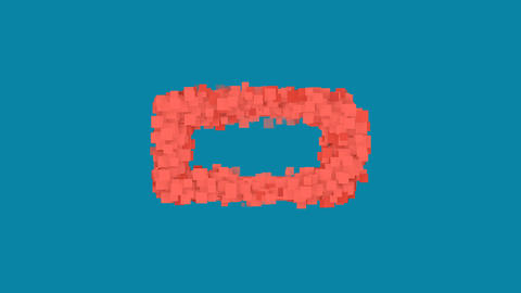 Behind the squares appears the symbol battery empty. In - Out. Alpha channel Animation
