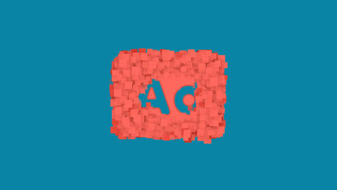 Behind the squares appears the symbol Ad - Advertisement. In - Out. Alpha Animation