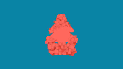 Behind the squares appears the symbol air freshener - tree. In - Out. Alpha Animation