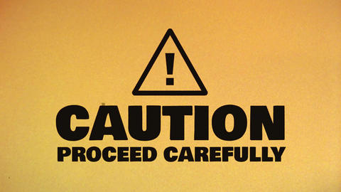Caution Hazard Icon On Bad Old Film Tape Animation