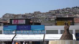 Turkey Aegean coast Aydin Province Kusadasi cityscape seen from shore promenade Footage