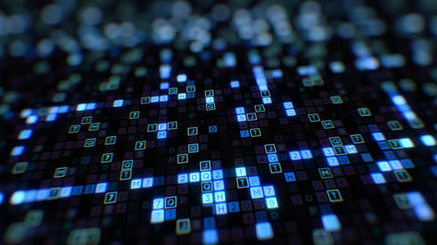 Moving at the Screen Display with Blue Symbols of Digital Code Abstract Input Animation
