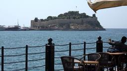 Turkey Aegean coast Aydin Province Kusadasi restaurant with Pigeon Island view GIF