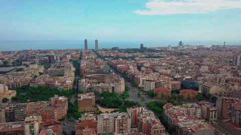 summer day barcelona cityscape aerial panorama 4k spain Footage