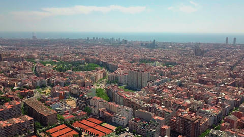 summer day barcelona cityscape aerial panorama spain Footage