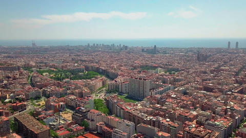 summer day barcelona cityscape aerial panorama spain Stock Video Footage