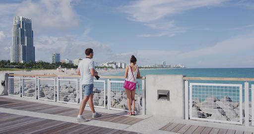 Miami tourists people city lifetyle - young urban couple on travel South Beach Footage