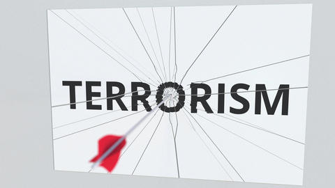 TERRORISM text plate being hit by archery arrow. Conceptual 3D animation Footage
