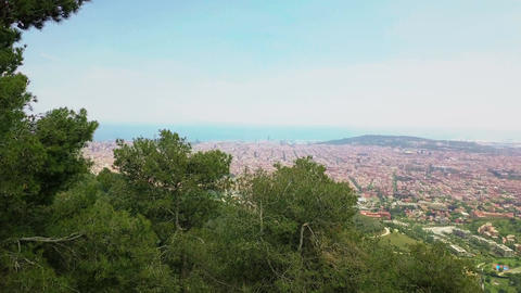 Aerial view over Barcelona Footage