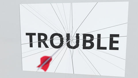 Archery arrow breaks plate with TROUBLE text, conceptual 3D animation Footage
