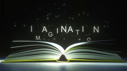 IMAGINATION caption made of glowing letters from the open book. 3D animation Footage