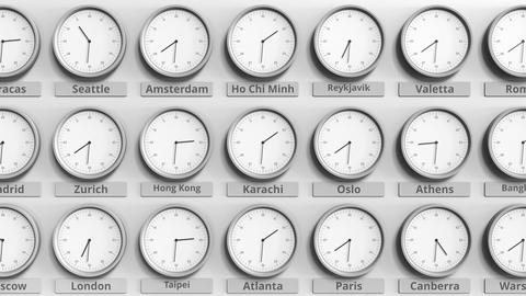 Round clock showing Karachi, Pakistan time within world time zones. 3D animation Footage