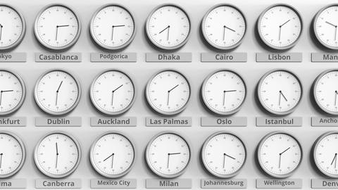 Round clock showing Las palmas, Spain time within world time zones. 3D animation Live Action