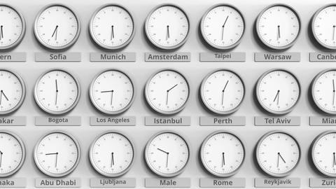 Round clock showing Istanbul, Turkey time within world time zones. 3D animation Live Action
