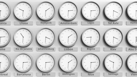 Round clock showing Lisbon, Portugal time within world time zones. 3D animation Footage