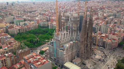 Aerial view La Sagrada Familia - the impressive cathedral designed by Gaudi Footage