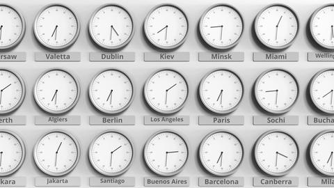 Round clock showing Los Angeles, USA time within world time zones. 3D animation Live Action