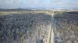Truck On A Winter Countryside Forest Road From Above Archivo