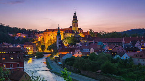Cesky Krumlov old town in Czech Republic day to night time lapse Footage