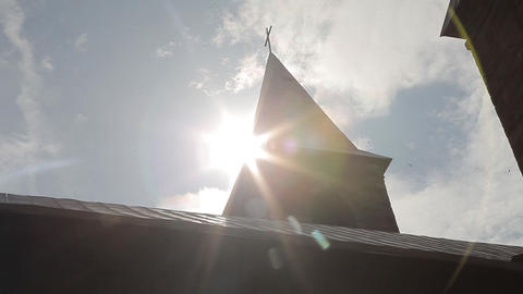roof of the church with a cross Footage