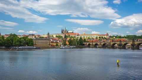 Prague city skyline with blue nice sky in Prague, Czech Republic time lapse Footage