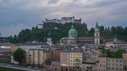 Salzburg skyline day to night time lapse in Salzburg, Austria Footage