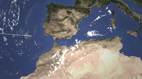 Route of a commercial plane flying to Algiers, Algeria on the map. Intro 3D Live Action