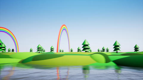 Plastic island with rainbow and plastic trees Footage