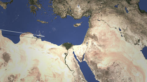 Route of a commercial plane flying to Amman, Jordan on the map. Intro 3D Live Action